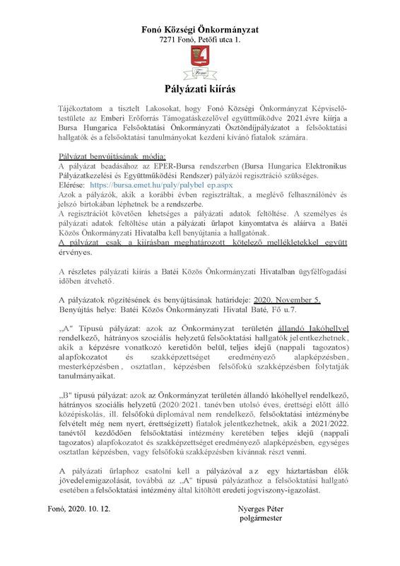 Bursa pályázat 2021
